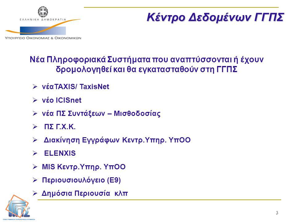 3 Κέντρο Δεδομένων ΓΓΠΣ Νέα Πληροφοριακά Συστήματα που αναπτύσσονται ή έχουν δρομολογηθεί και θα εγκατασταθούν στη ΓΓΠΣ  νέαTAXIS/ TaxisNet  νέο ICI