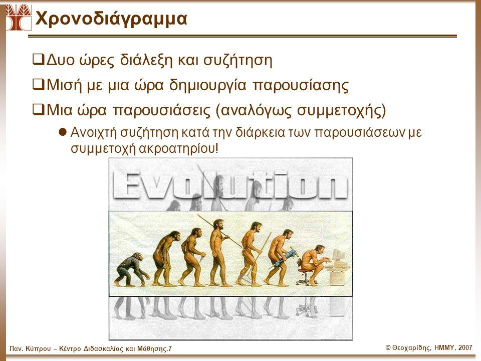 © Θεοχαρίδης, ΗΜΜΥ, 2007 Παν. Κύπρου – Κέντρο Διδασκαλίας και Μάθησης.6 Τι θα δούμε σήμερα  Τέσσερα βασικά θέματα lΟργάνωση Παρουσίασης και Αντιμετώπ