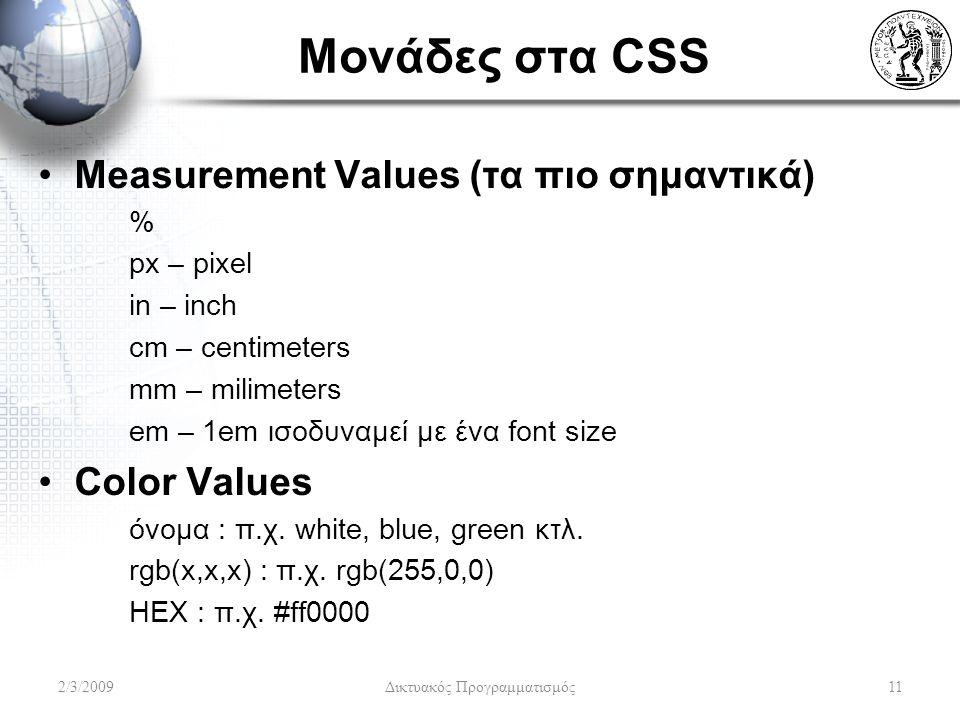 Μονάδες στα CSS Measurement Values (τα πιο σημαντικά) % px – pixel in – inch cm – centimeters mm – milimeters em – 1em ισοδυναμεί με ένα font size Col