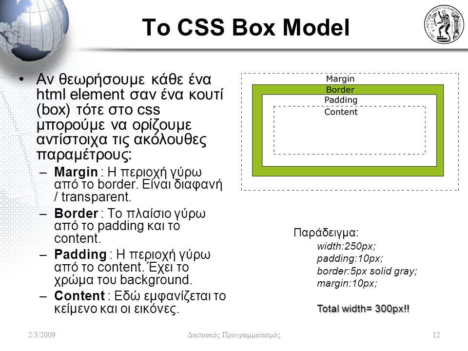 To CSS Box Model Αν θεωρήσουμε κάθε ένα html element σαν ένα κουτί (box) τότε στο css μπορούμε να ορίζουμε αντίστοιχα τις ακόλουθες παραμέτρους: –Marg