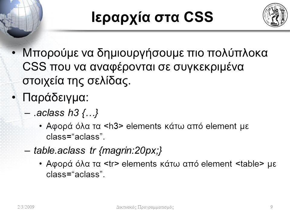 Ιεραρχία στα CSS Μπορούμε να δημιουργήσουμε πιο πολύπλοκα CSS που να αναφέρονται σε συγκεκριμένα στοιχεία της σελίδας. Παράδειγμα: –.aclass h3 {…} Aφο