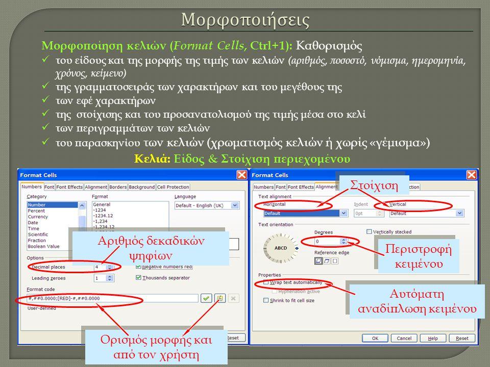Αριθμός δεκαδικών ψηφίων Ορισμός μορφής και από τον χρήστη Στοίχιση Περιστροφή κειμένου Αυτόματη αναδίπλωση κειμένου Μορφοποιήσεις Μορφοποίηση κελιών