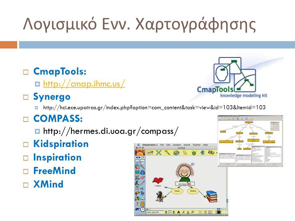Λογισμικό Ενν. Χαρτογράφησης  CmapTools:  http://cmap.ihmc.us/ http://cmap.ihmc.us/  Synergo  http://hci.ece.upatras.gr/index.php?option=com_conte