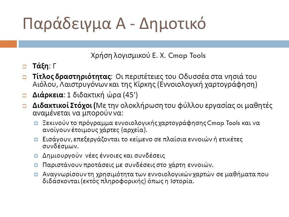 Παράδειγμα Α - Δημοτικό Χρήση λογισμικού Ε. Χ. Cmap Tools  Τάξη : Γ  Τίτλος δραστηριότητας : Οι περιπέτειες του Οδυσσέα στα νησιά του Αιόλου, Λαιστρ