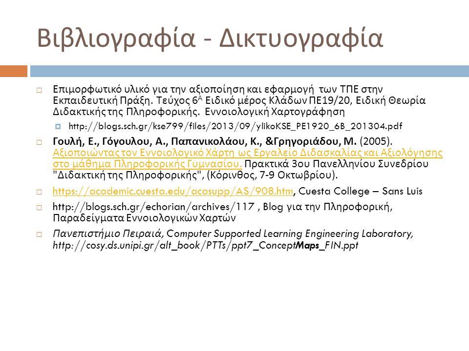 Βιβλιογραφία - Δικτυογραφία  Επιμορφωτικό υλικό για την αξιοποίηση και εφαρμογή των ΤΠΕ στην Εκπαιδευτική Πράξη. Τεύχος 6 Α Ειδικό μέρος Κλάδων ΠΕ 19
