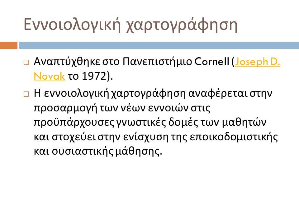 Εννοιολογική χαρτογράφηση  Αναπτύχθηκε στο Πανεπιστήμιο Cornell (Joseph D. Novak το 1972).Joseph D. Novak  Η εννοιολογική χαρτογράφηση αναφέρεται στ