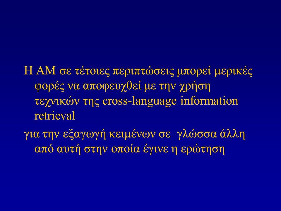 Η ΑΜ σε τέτοιες περιπτώσεις μπορεί μερικές φορές να αποφευχθεί με την χρήση τεχνικών της cross-language information retrieval για την εξαγωγή κειμένων σε γλώσσα άλλη από αυτή στην οποία έγινε η ερώτηση