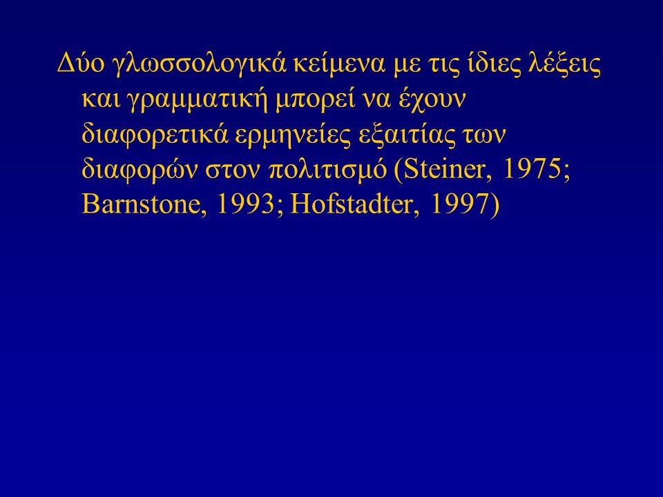 Δύο γλωσσολογικά κείμενα με τις ίδιες λέξεις και γραμματική μπορεί να έχουν διαφορετικά ερμηνείες εξαιτίας των διαφορών στον πολιτισμό (Steiner, 1975; Barnstone, 1993; Hofstadter, 1997)