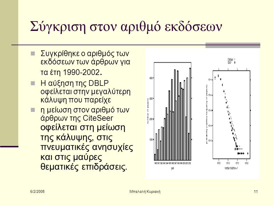 6/2/2008 Μπαλαλή Κυριακή11 Σύγκριση στον αριθμό εκδόσεων Συγκρίθηκε ο αριθμός των εκδόσεων των άρθρων για τα έτη 1990-2002. Η αύξηση της DBLP οφείλετα