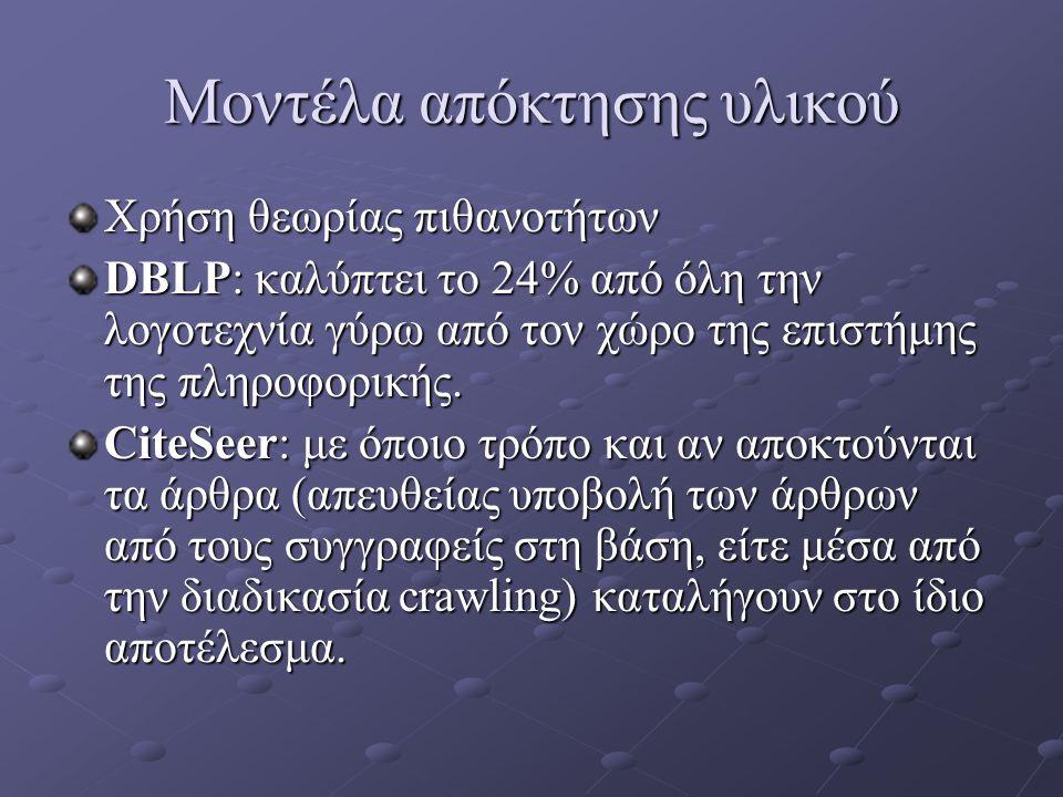 Μοντέλα απόκτησης υλικού Χρήση θεωρίας πιθανοτήτων DBLP: καλύπτει το 24% από όλη την λογοτεχνία γύρω από τον χώρο της επιστήμης της πληροφορικής.