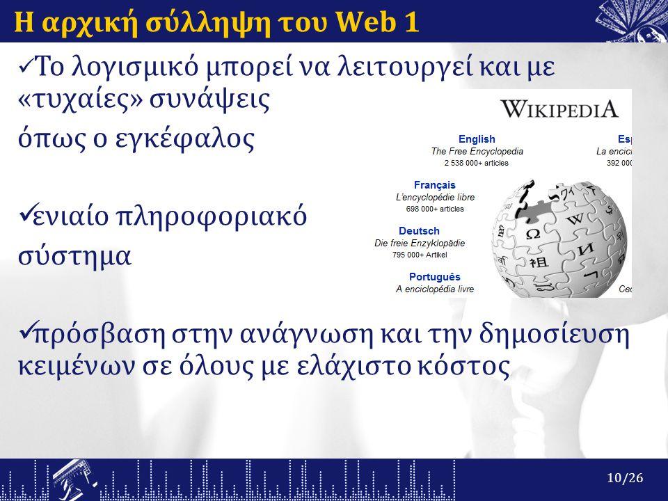Η αρχική σύλληψη του Web 1 Το λογισμικό μπορεί να λειτουργεί και με «τυχαίες» συνάψεις όπως ο εγκέφαλος ενιαίο πληροφοριακό σύστημα πρόσβαση στην ανάγνωση και την δημοσίευση κειμένων σε όλους με ελάχιστο κόστος 10/26