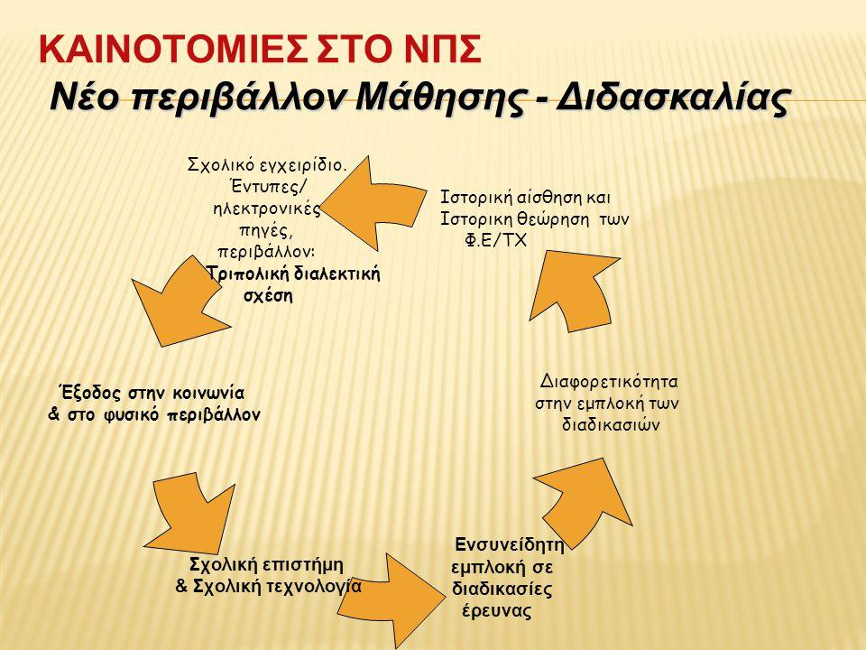 Νέο περιβάλλοv Μάθησης - Διδασκαλίας ΚΑΙΝΟΤΟΜΙΕΣ ΣΤΟ ΝΠΣ Νέο περιβάλλοv Μάθησης - Διδασκαλίας Σχολικό εγχειρίδιο.