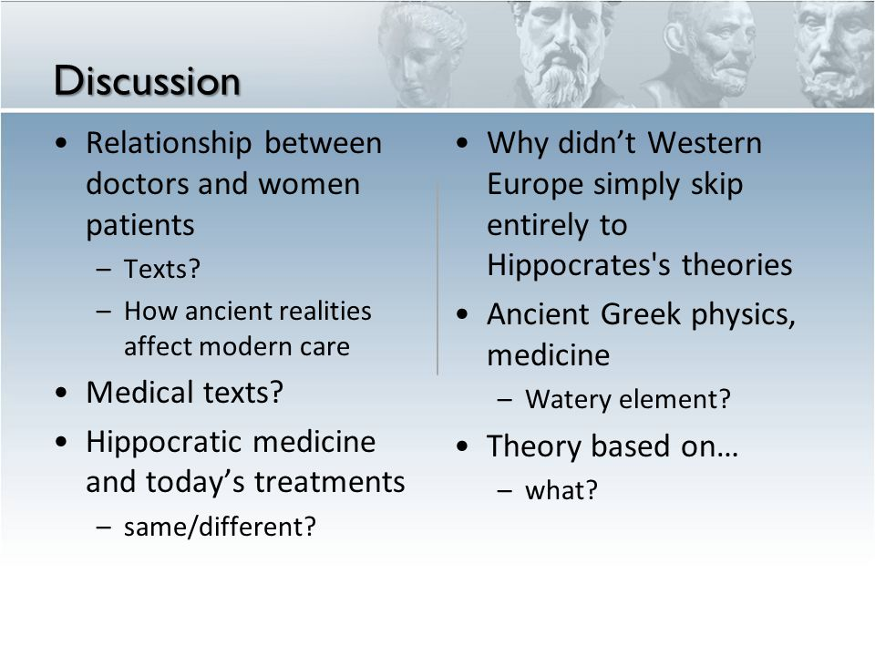 Discussion Relationship between doctors and women patients –Texts.