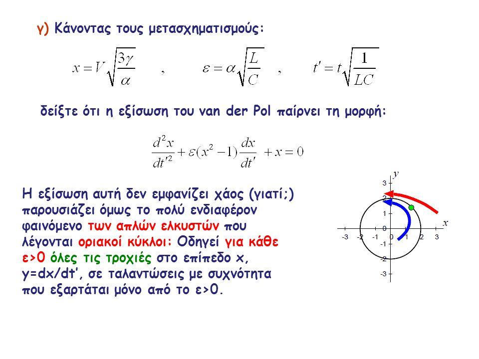 γ) Κάνοντας τους μετασχηματισμούς: δείξτε ότι η εξίσωση του van der Pol παίρνει τη μορφή: Η εξίσωση αυτή δεν εμφανίζει χάος (γιατί;) παρουσιάζει όμως το πολύ ενδιαφέρον φαινόμενο των απλών ελκυστών που λέγονται οριακοί κύκλοι: Οδηγεί για κάθε ε>0 όλες τις τροχιές στο επίπεδο x, y=dx/dt', σε ταλαντώσεις με συχνότητα που εξαρτάται μόνο από το ε>0.