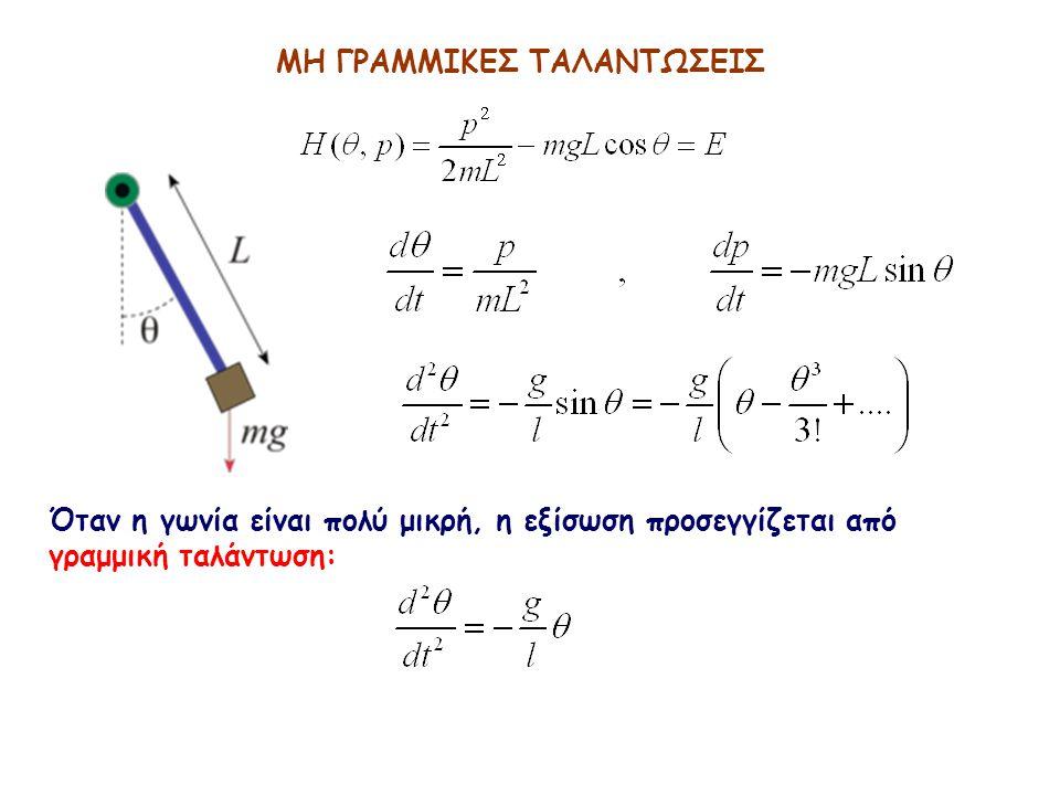 ΜΗ ΓΡΑΜΜΙΚΕΣ ΤΑΛΑΝΤΩΣΕΙΣ Όταν η γωνία είναι πολύ μικρή, η εξίσωση προσεγγίζεται από γραμμική ταλάντωση: