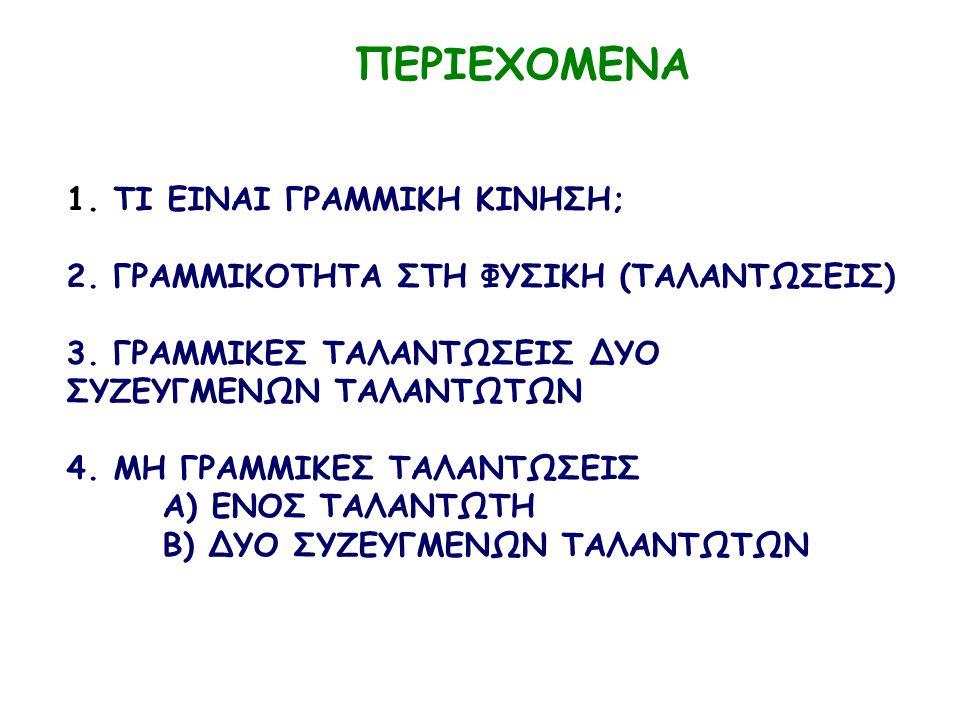 ΠΕΡΙΕΧΟΜΕΝΑ 1. ΤΙ ΕΙΝΑΙ ΓΡΑΜΜΙΚΗ ΚΙΝΗΣΗ; 2. ΓΡΑΜΜΙΚΟΤΗΤΑ ΣΤΗ ΦΥΣΙΚΗ (ΤΑΛΑΝΤΩΣΕΙΣ) 3. ΓΡΑΜΜΙΚΕΣ ΤΑΛΑΝΤΩΣΕΙΣ ΔΥΟ ΣΥΖΕΥΓΜΕΝΩΝ ΤΑΛΑΝΤΩΤΩΝ 4. ΜΗ ΓΡΑΜΜΙΚΕΣ