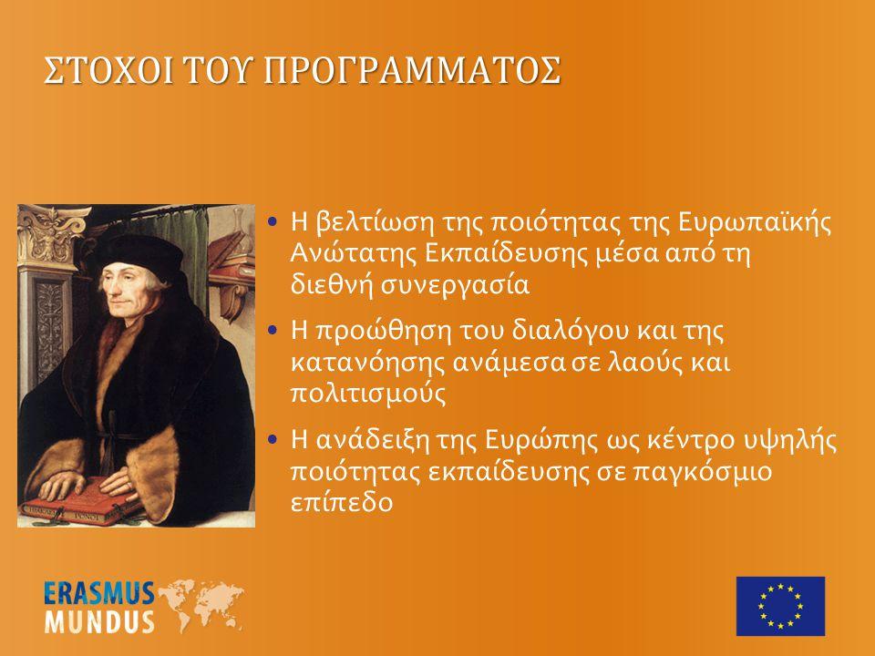 Δηλαδή, προγράμματα που οδηγούν στην απόκτηση μάστερ (EMMCs) ή διδακτορικού (EMJDs) που οργανώνονται και προσφέρονται από μια σύμπραξη πανεπιστημίων από 3 τουλάχιστον ευρωπαϊκές χώρες από τις οποίες η 1 τουλάχιστον μέλος της ΕΕ και συντονίζονται από ένα πανεπιστήμιο χώρας μέλους (στο σχήμα μπορούν να συμμετέχουν επιπλέον και μη ευρωπαϊκά πανεπιστήμια) ACTION 1 – Κοινά Μεταπτυχιακά Προγράμματα