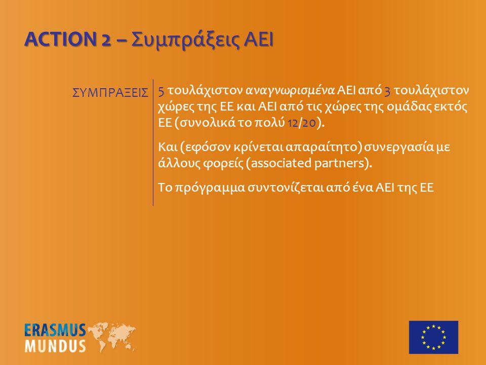 ACTION 2 – Συμπράξεις ΑΕΙ 5 τουλάχιστον αναγνωρισμένα ΑΕΙ από 3 τουλάχιστον χώρες της ΕΕ και ΑΕΙ από τις χώρες της ομάδας εκτός ΕΕ (συνολικά το πολύ 12/20).