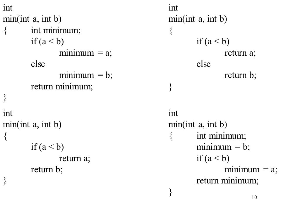 10 int min(int a, int b) {int minimum; if (a < b) minimum = a; else minimum = b; return minimum; } int min(int a, int b) {int minimum; minimum = b; if