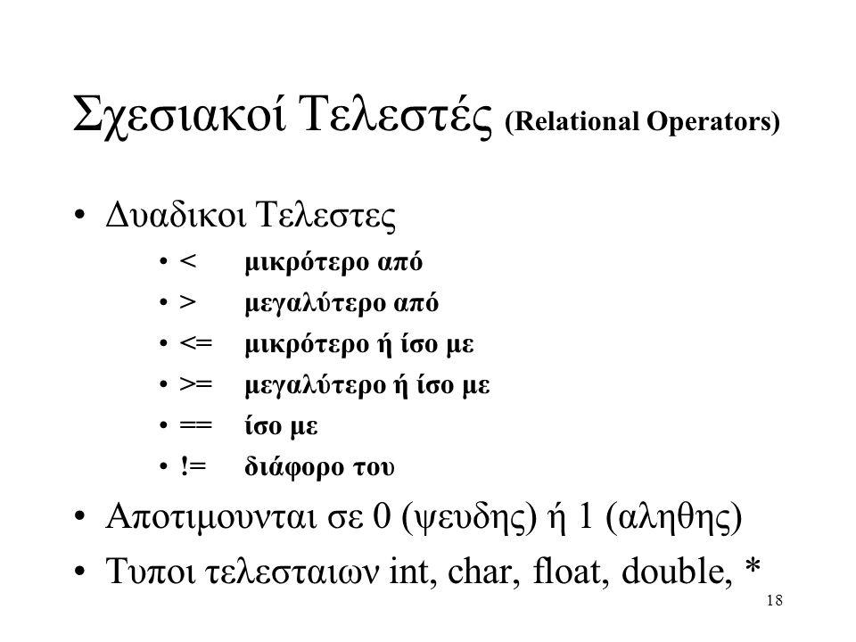 18 Σχεσιακοί Τελεστές (Relational Operators) Δυαδικοι Τελεστες <μικρότερο από >μεγαλύτερο από <=μικρότερο ή ίσο με >=μεγαλύτερο ή ίσο με ==ίσο με !=δι