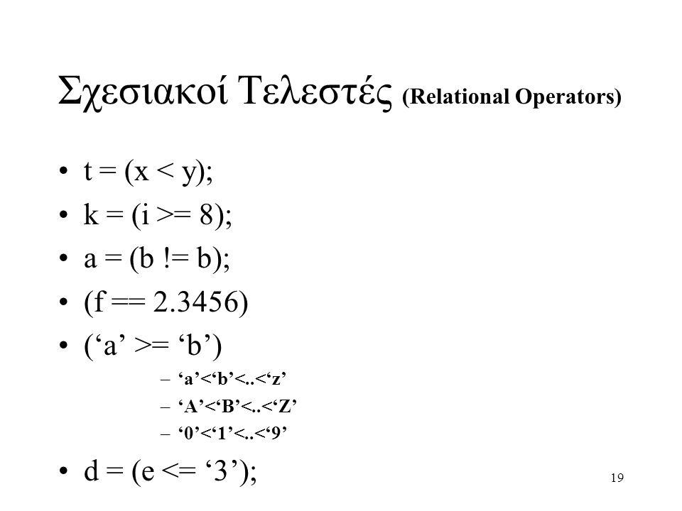 19 Σχεσιακοί Τελεστές (Relational Operators) t = (x < y); k = (i >= 8); a = (b != b); (f == 2.3456) ('a' >= 'b') –'a'<'b'<..<'z' –'A'<'B'<..<'Z' –'0'<