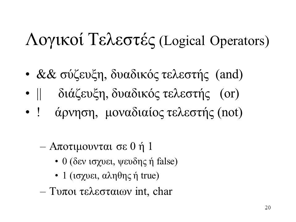 20 Λογικοί Τελεστές (Logical Operators) && σύζευξη, δυαδικός τελεστής (and)  διάζευξη, δυαδικός τελεστής (or) !άρνηση, μοναδιαίος τελεστής (not) –Απ