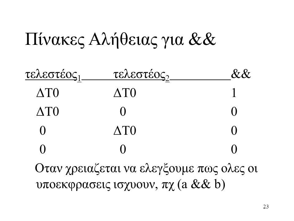 23 Πίνακες Αλήθειας για && τελεστέος 1 τελεστέος 2 && ΔΤ0ΔΤ01 ΔΤ0 00 0ΔΤ00 0 00 Oταν χρειαζεται να ελεγξουμε πως ολες οι υποεκφρασεις ισχυουν, πχ (a &