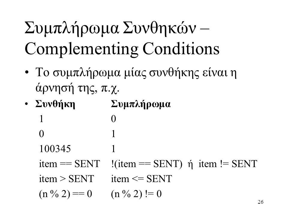 26 Συμπλήρωμα Συνθηκών – Complementing Conditions Το συμπλήρωμα μίας συνθήκης είναι η άρνησή της, π.χ. ΣυνθήκηΣυμπλήρωμα 10 01 1003451 item == SENT!(i
