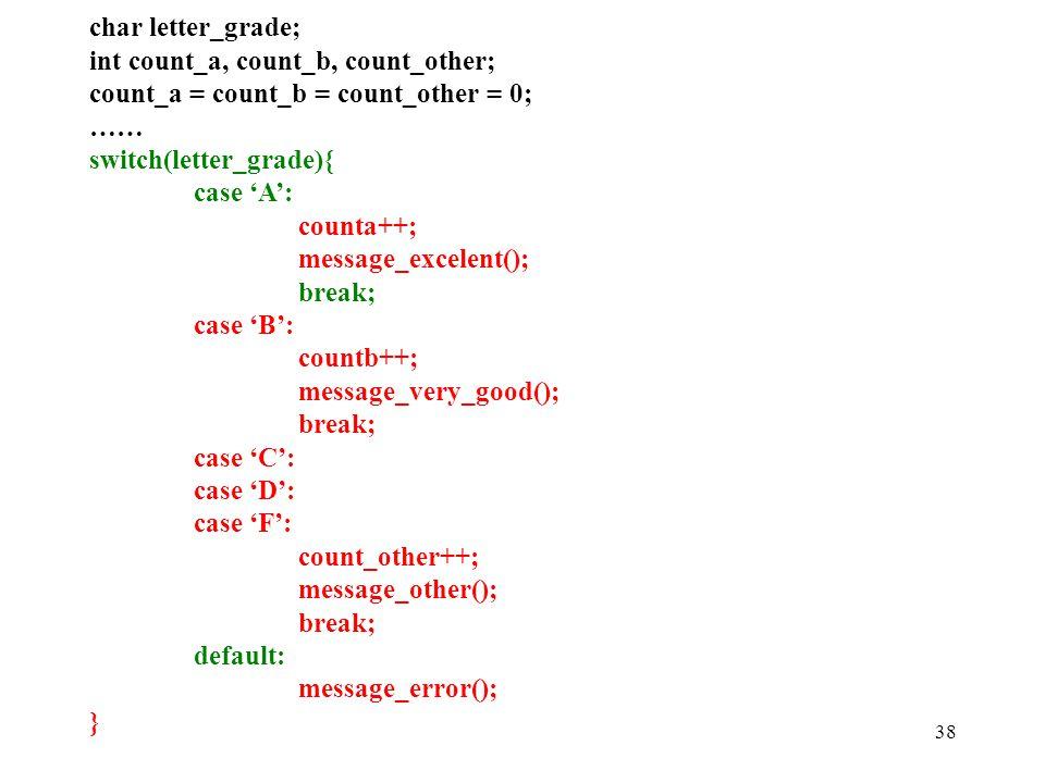 38 char letter_grade; int count_a, count_b, count_other; count_a = count_b = count_other = 0; …… switch(letter_grade){ case 'A': counta++; message_excelent(); break; case 'B': countb++; message_very_good(); break; case 'C': case 'D': case 'F': count_other++; message_other(); break; default: message_error(); }