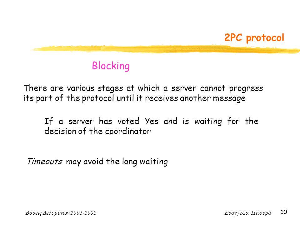 Βάσεις Δεδομένων 2001-2002 Ευαγγελία Πιτουρά 10 2PC protocol There are various stages at which a server cannot progress its part of the protocol until