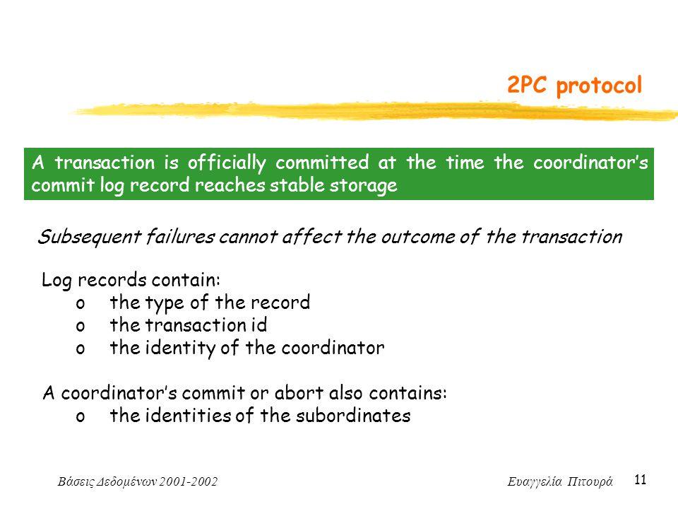 Βάσεις Δεδομένων 2001-2002 Ευαγγελία Πιτουρά 11 2PC protocol A transaction is officially committed at the time the coordinator's commit log record rea