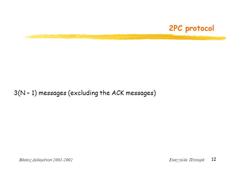 Βάσεις Δεδομένων 2001-2002 Ευαγγελία Πιτουρά 12 2PC protocol 3(N – 1) messages (excluding the ACK messages)