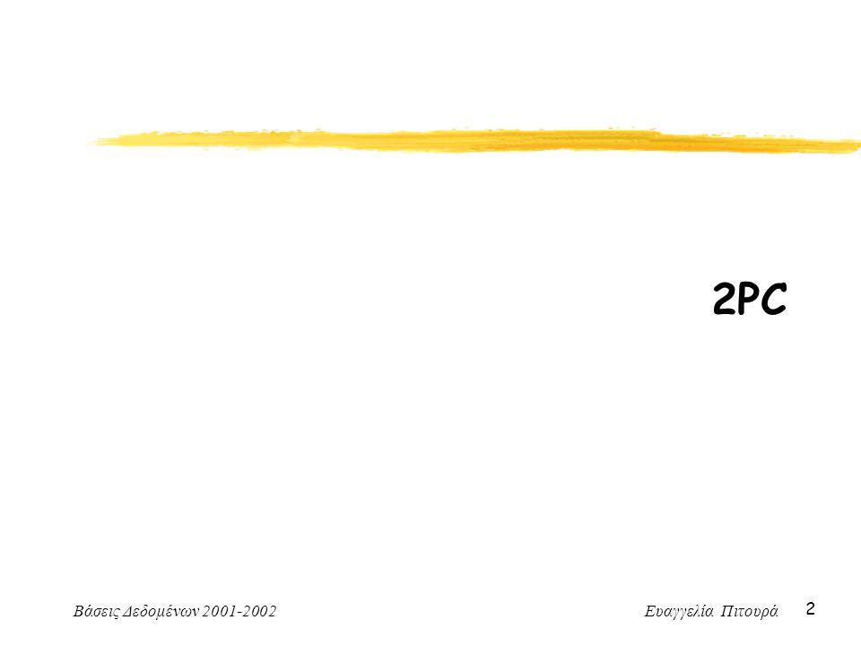 Βάσεις Δεδομένων 2001-2002 Ευαγγελία Πιτουρά 2 2PC