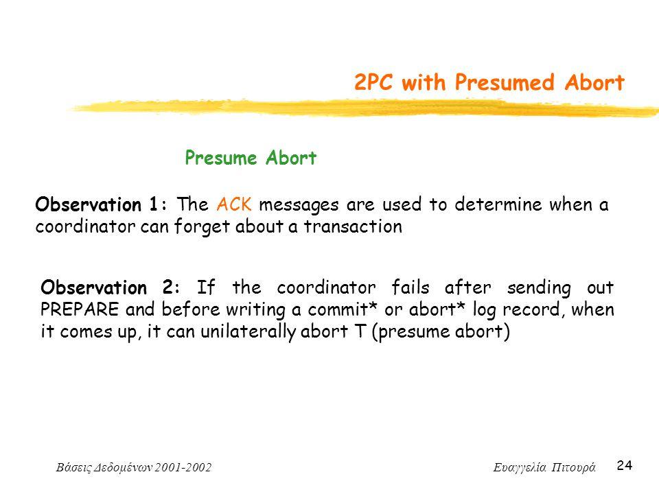 Βάσεις Δεδομένων 2001-2002 Ευαγγελία Πιτουρά 24 2PC with Presumed Abort Observation 1: The ACK messages are used to determine when a coordinator can f