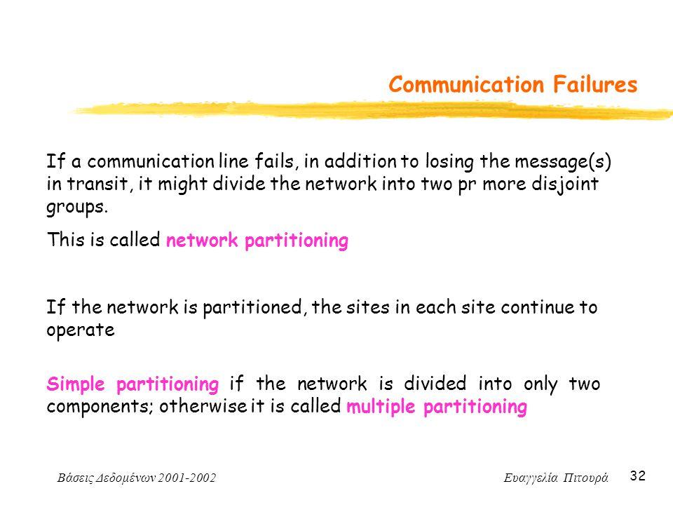 Βάσεις Δεδομένων 2001-2002 Ευαγγελία Πιτουρά 32 Communication Failures If a communication line fails, in addition to losing the message(s) in transit,