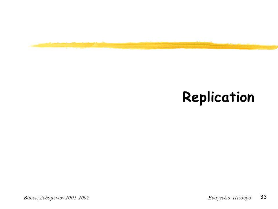 Βάσεις Δεδομένων 2001-2002 Ευαγγελία Πιτουρά 33 Replication
