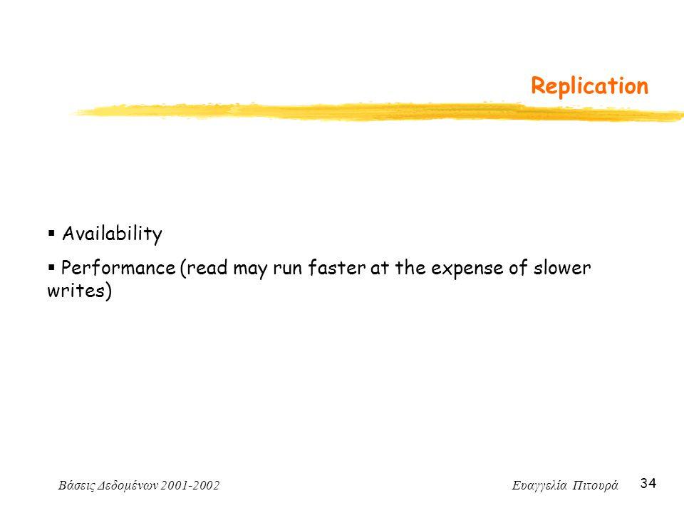 Βάσεις Δεδομένων 2001-2002 Ευαγγελία Πιτουρά 34 Replication  Availability  Performance (read may run faster at the expense of slower writes)