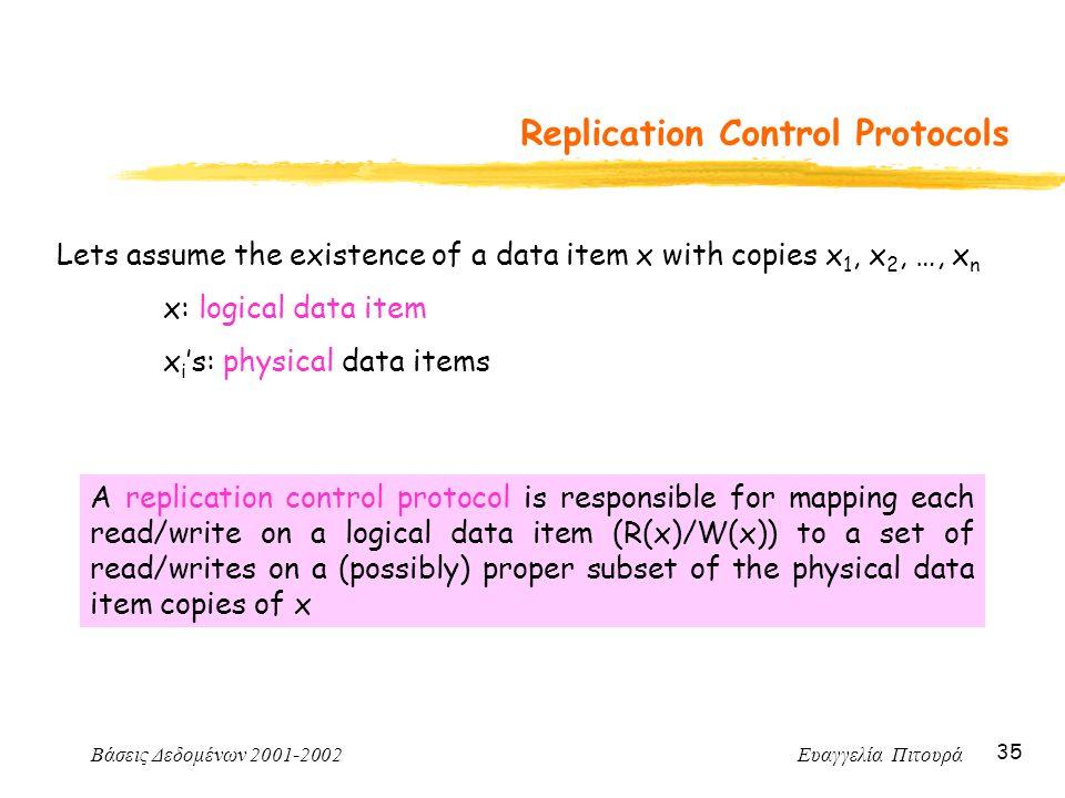 Βάσεις Δεδομένων 2001-2002 Ευαγγελία Πιτουρά 35 Replication Control Protocols Lets assume the existence of a data item x with copies x 1, x 2, …, x n