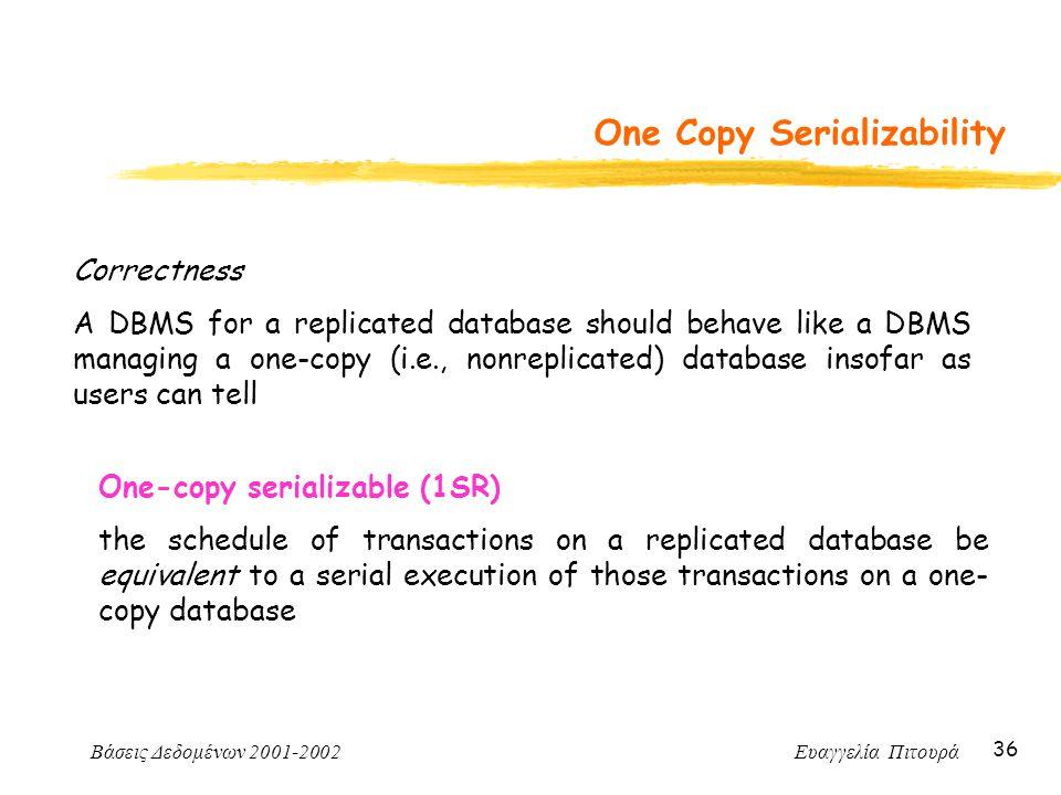Βάσεις Δεδομένων 2001-2002 Ευαγγελία Πιτουρά 36 One Copy Serializability Correctness A DBMS for a replicated database should behave like a DBMS managi