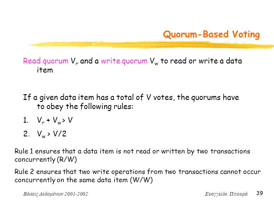 Βάσεις Δεδομένων 2001-2002 Ευαγγελία Πιτουρά 39 Quorum-Based Voting Read quorum V r and a write quorum V w to read or write a data item If a given dat
