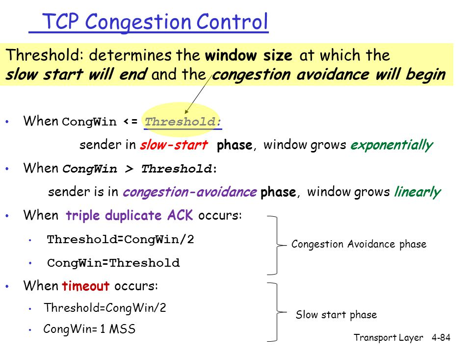 TCP Congestion Control When CongWin <= Threshold: sender in slow-start phase, window grows exponentially When CongWin > Threshold: sender is in conges