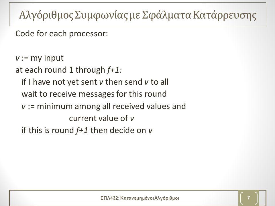 Εκτέλεση Αλγορίθμου round 1: –send my input –receive round 1 msgs –compute value for v round 2: –send v (if this is a new value) –receive round 2 msgs –compute value for v … round f + 1: –send v (if this is a new value) –receive round f + 1 msgs –compute value for v –decide v ΕΠΛ432: Κατανεμημένοι Αλγόριθμοι 8
