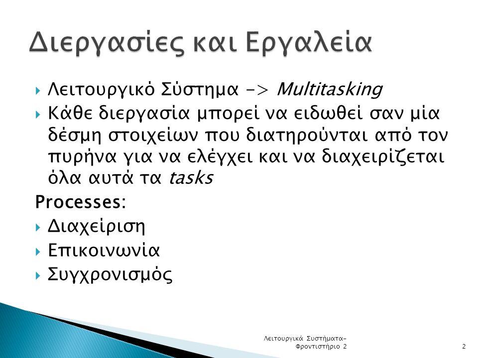  Λειτουργικό Σύστημα -> Multitasking  Κάθε διεργασία μπορεί να ειδωθεί σαν μία δέσμη στοιχείων που διατηρούνται από τον πυρήνα για να ελέγχει και να