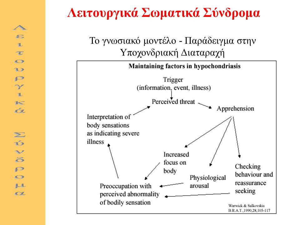 Λειτουργικά Σωματικά Σύνδρομα Το γνωσιακό μοντέλο - Παράδειγμα στην Υποχονδριακή Διαταραχή