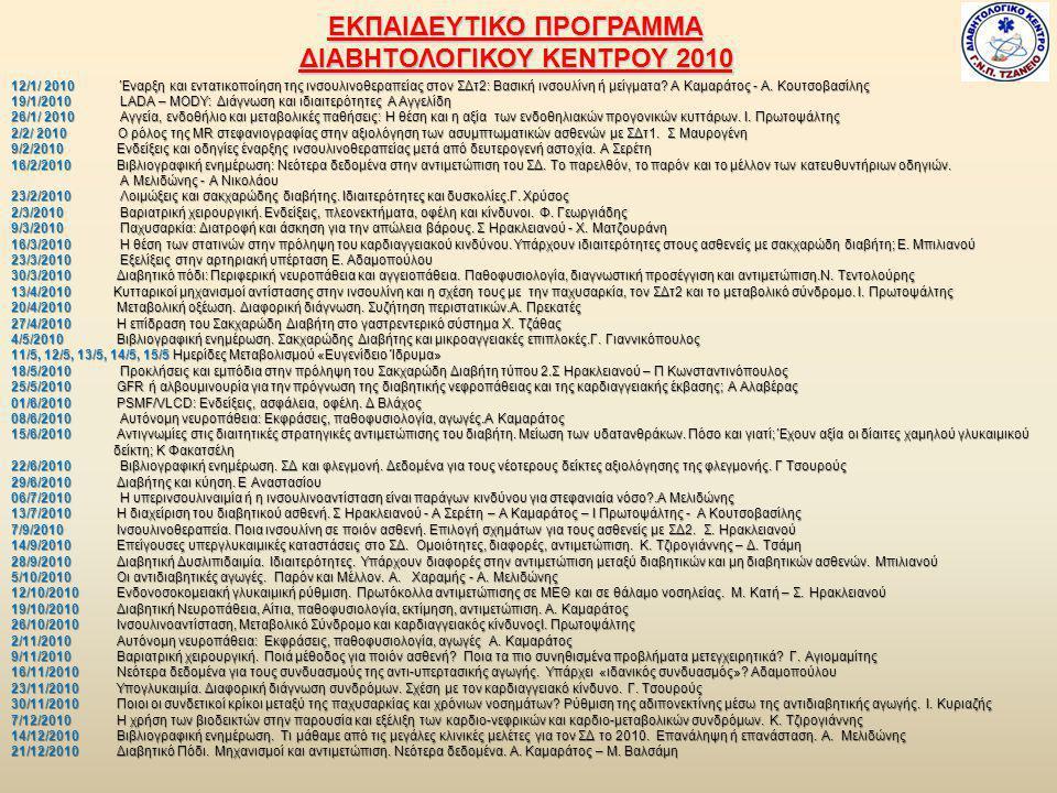 ΕΚΠΑΙΔΕΥΤΙΚΟ ΠΡΟΓΡΑΜΜΑ ΔΙΑΒΗΤΟΛΟΓΙΚΟΥ ΚΕΝΤΡΟΥ 2010 12/1/ 2010 Έναρξη και εντατικοποίηση της ινσουλινοθεραπείας στον ΣΔτ2: Βασική ινσουλίνη ή μείγματα.