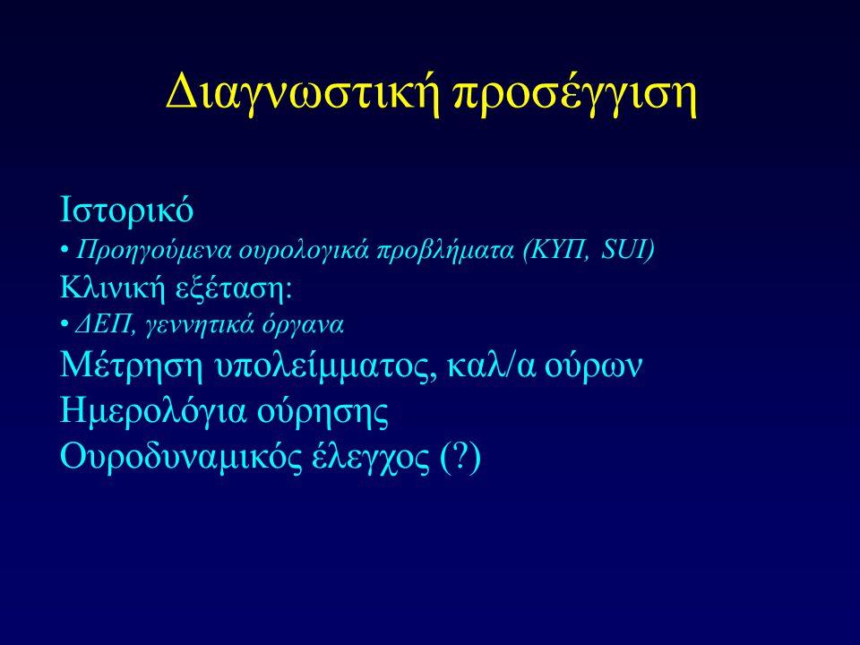 Διαγνωστική προσέγγιση Ιστορικό Προηγούμενα ουρολογικά προβλήματα (ΚΥΠ, SUI) Κλινική εξέταση: ΔΕΠ, γεννητικά όργανα Μέτρηση υπολείμματος, καλ/α ούρων Ημερολόγια ούρησης Ουροδυναμικός έλεγχος (?)