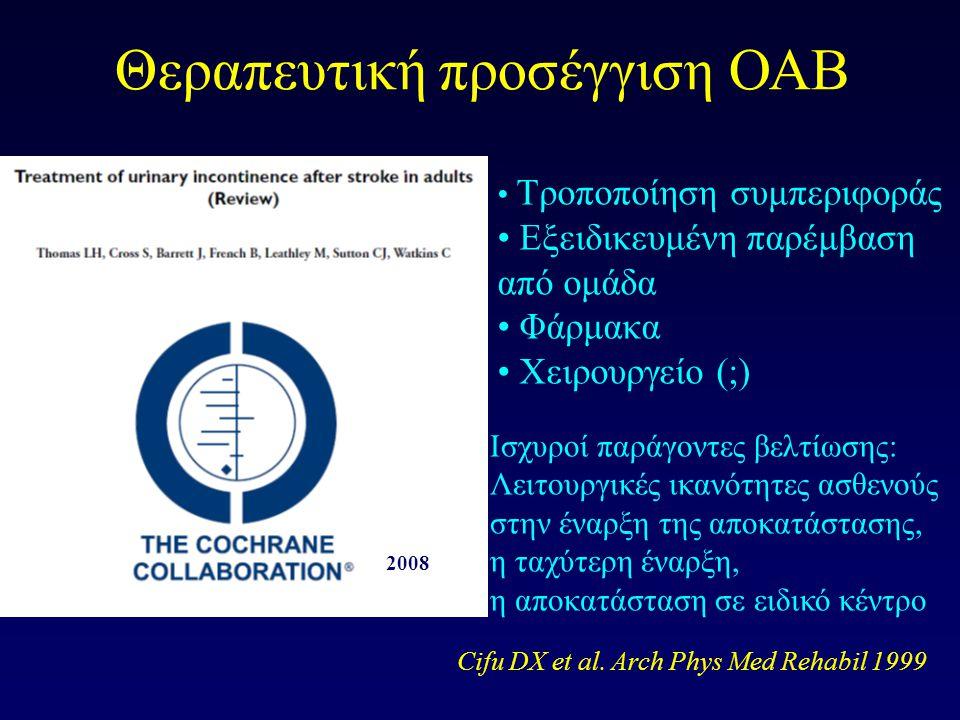 Θεραπευτική προσέγγιση ΟΑΒ Τροποποίηση συμπεριφοράς Εξειδικευμένη παρέμβαση από ομάδα Φάρμακα Χειρουργείο (;) Ισχυροί παράγοντες βελτίωσης: Λειτουργικές ικανότητες ασθενούς στην έναρξη της αποκατάστασης, η ταχύτερη έναρξη, η αποκατάσταση σε ειδικό κέντρο Cifu DX et al.