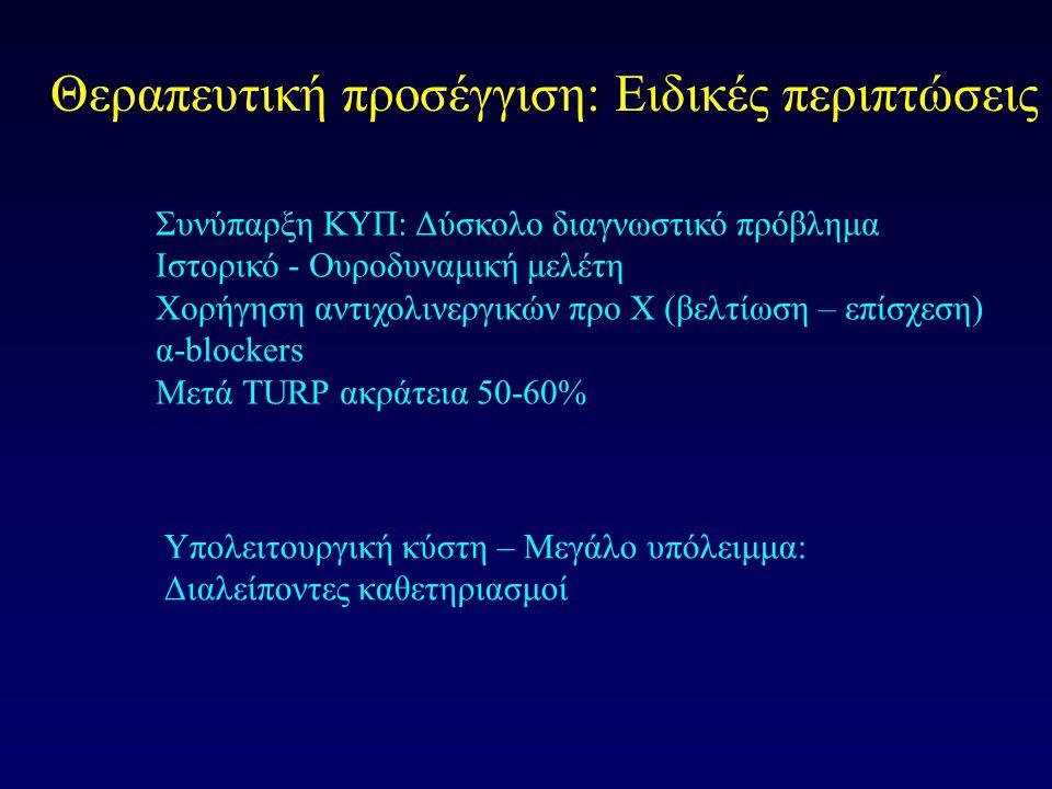 Θεραπευτική προσέγγιση: Ειδικές περιπτώσεις Συνύπαρξη ΚΥΠ: Δύσκολο διαγνωστικό πρόβλημα Ιστορικό - Ουροδυναμική μελέτη Χορήγηση αντιχολινεργικών προ Χ