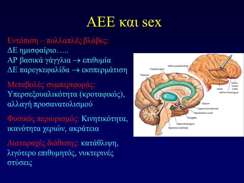 AEE και sex Εντόπιση – πολλαπλές βλάβες: ΔΕ ημισφαίριο….. ΑΡ βασικά γάγγλια  επιθυμία ΔΕ παρεγκεφαλίδα  εκσπερμάτιση Μεταβολές συμπεριφοράς: Υπερσεξ