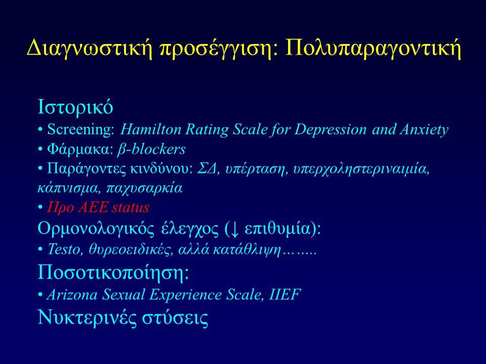 Διαγνωστική προσέγγιση: Πολυπαραγοντική Ιστορικό Screening: Hamilton Rating Scale for Depression and Anxiety Φάρμακα: β-blockers Παράγοντες κινδύνου: ΣΔ, υπέρταση, υπερχοληστεριναιμία, κάπνισμα, παχυσαρκία Προ ΑΕΕ status Ορμονολογικός έλεγχος (↓ επιθυμία): Testo, θυρεοειδικές, αλλά κατάθλιψη……..